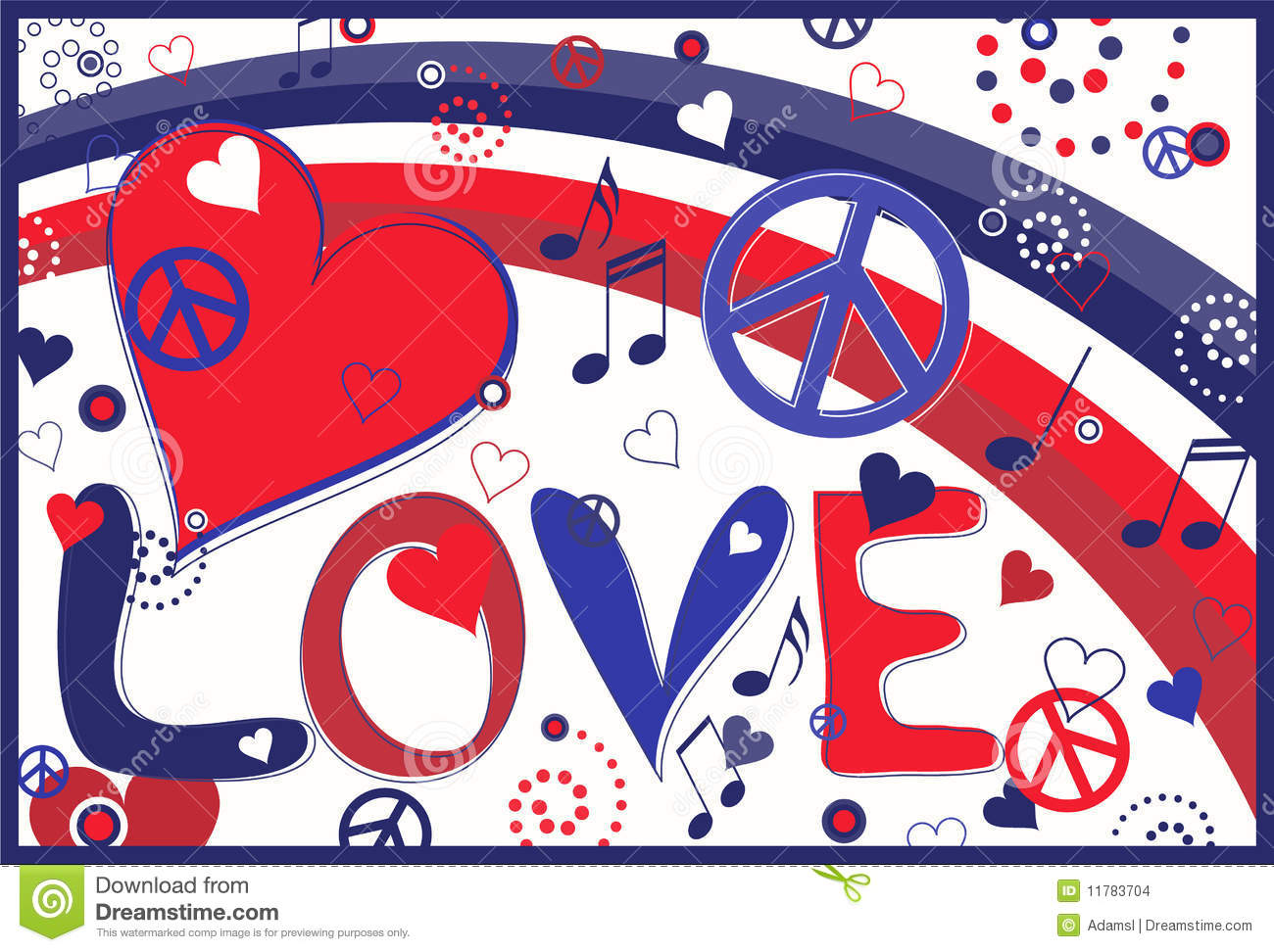Love Peace And Hearts In Red White And Blue Stock Vector