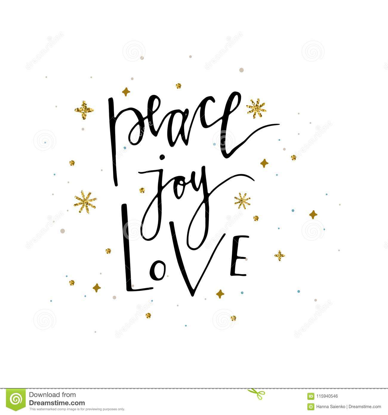 Love Peace Joy Text And Gold Glitter Snowflakes Holiday Greetings ...
