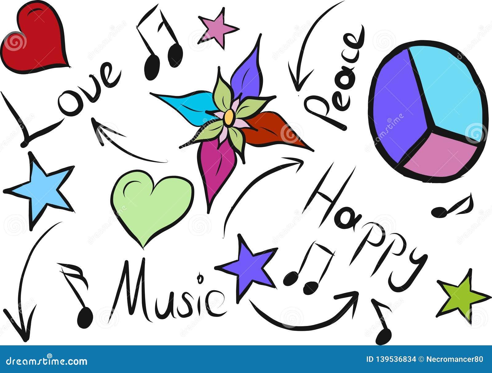 Love peace music happy sketch