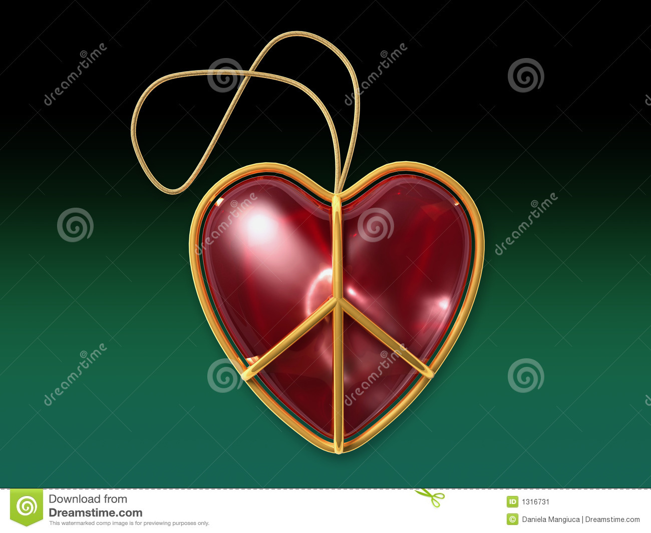Peace Christmas Sign.Love Peace Sign As A Christmas Ornament With Clipping Path
