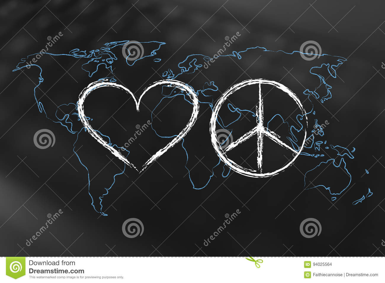 Love And Peace Symbol With World Map Stock Illustration