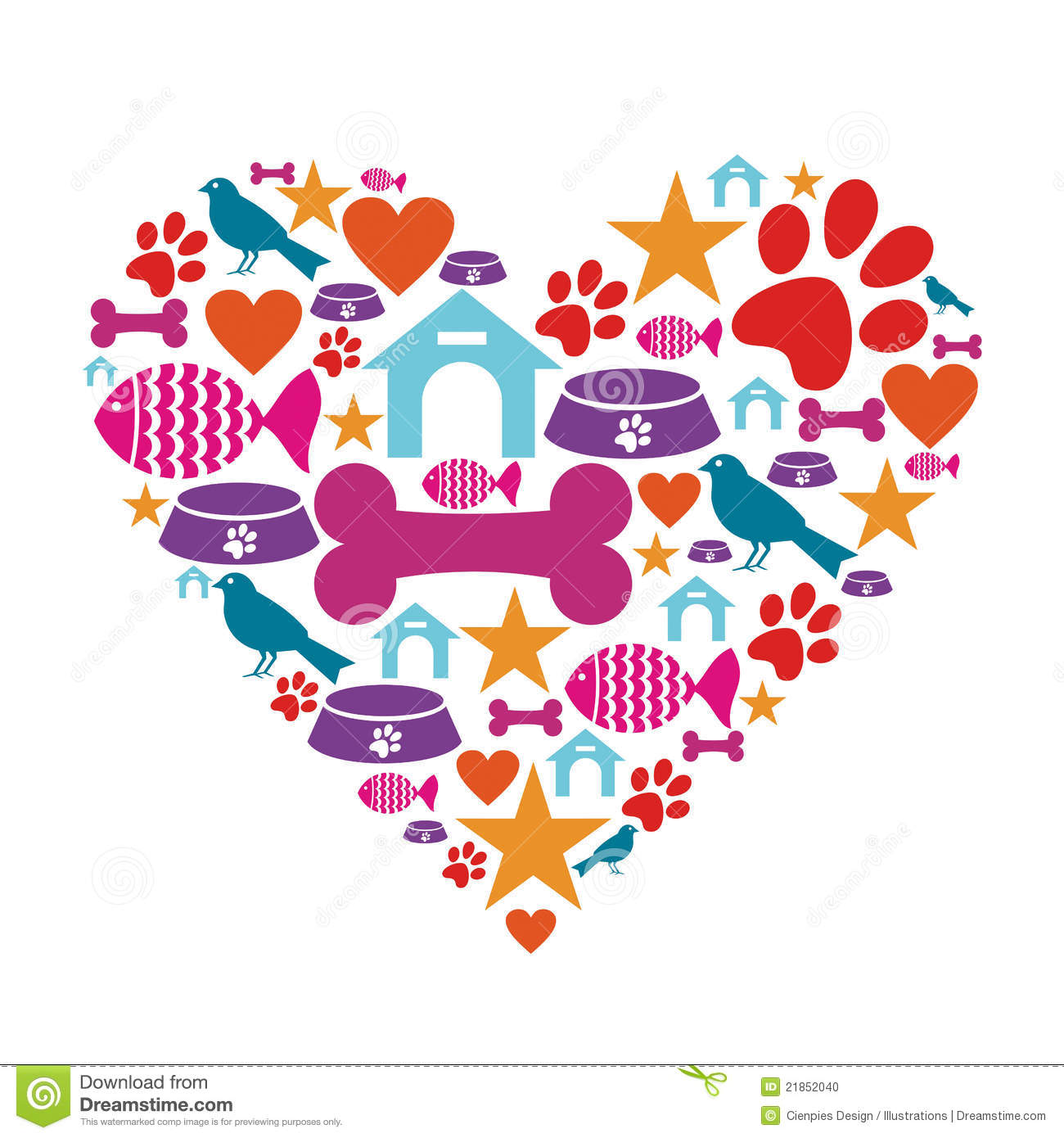 love for pets icon collection stock vector