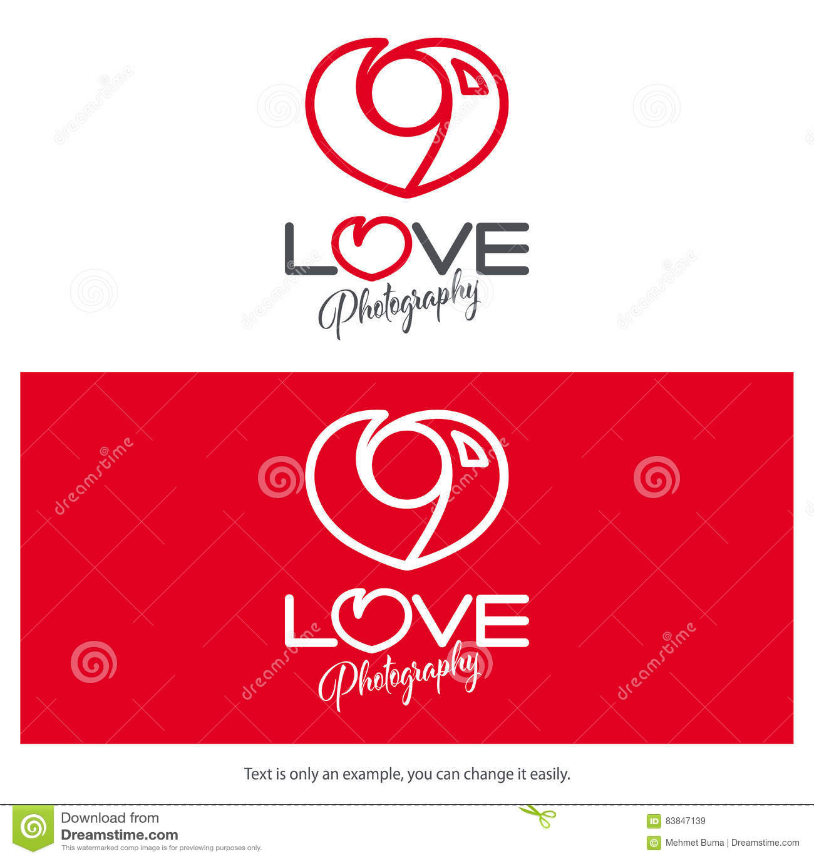 Love photography logo design. Minimal camera icon heart shaped.
