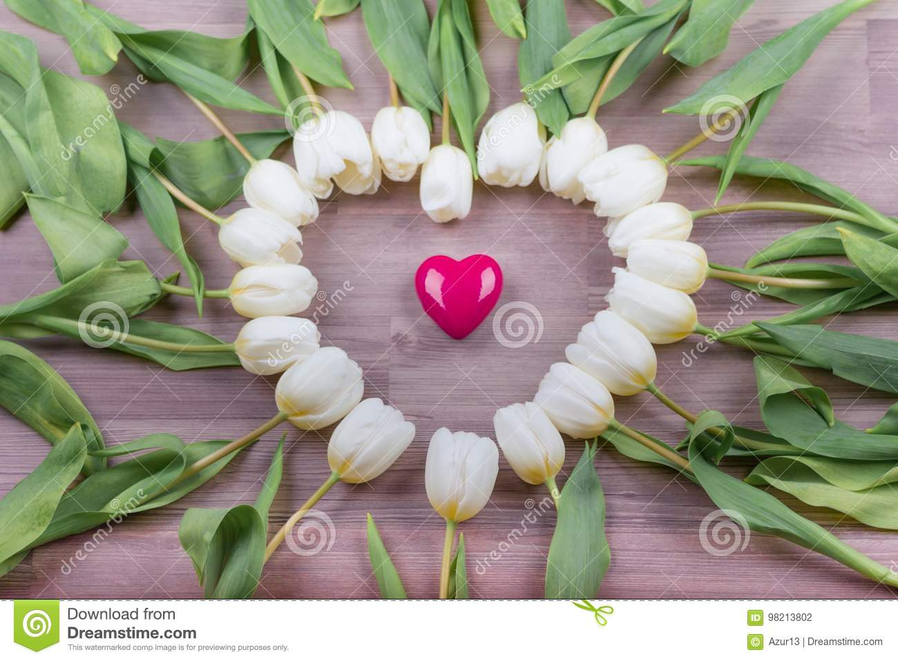 Love Pink Heart Of Tulips Lovely Surprise Present For Girlfriend