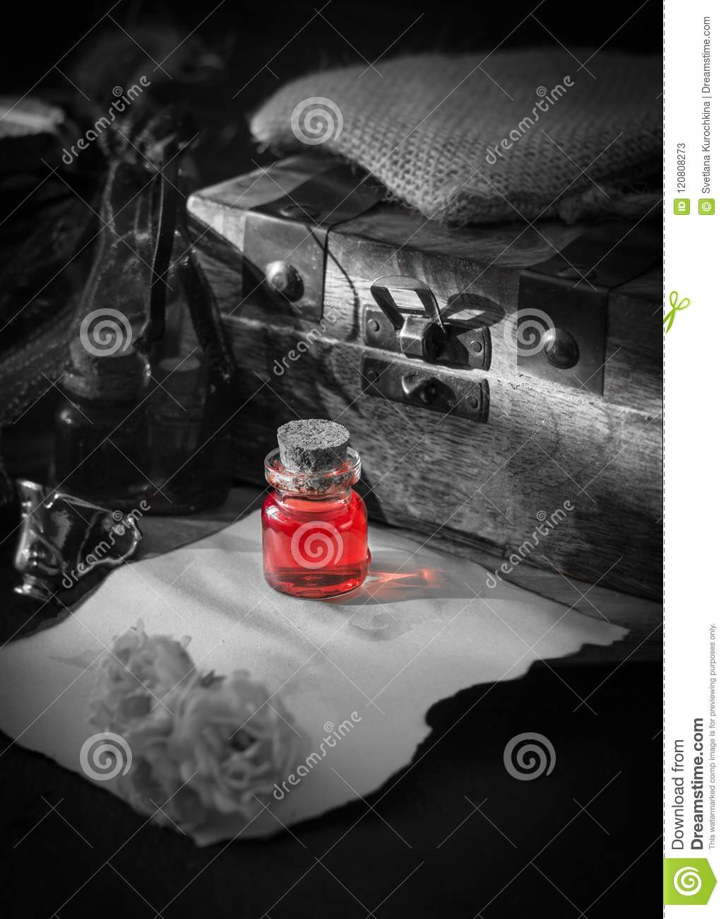 Love Poison, Red Drink In Bottle  Magic Concept Stock Image