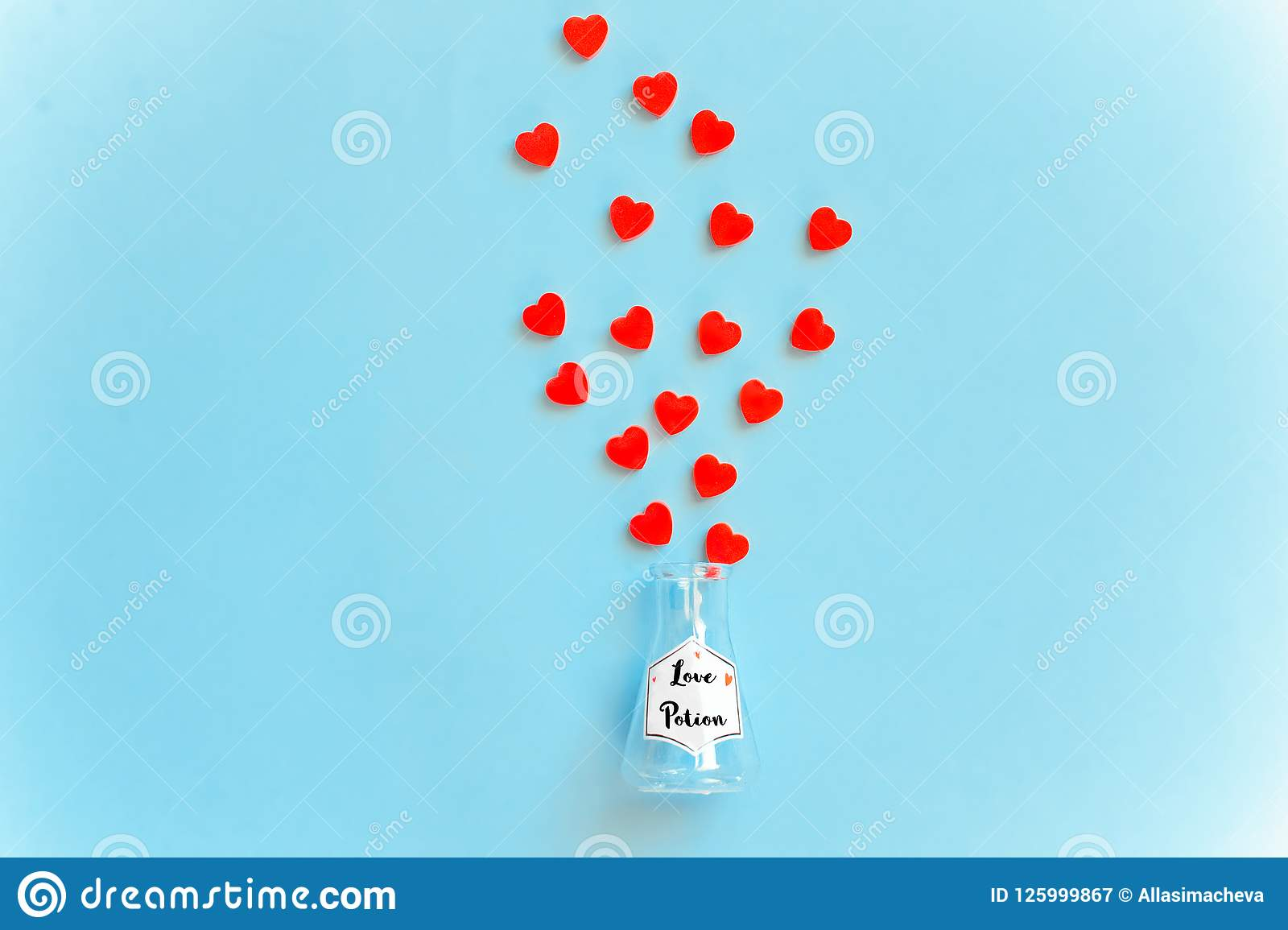 Love potion bottle, concept for dating, romance and valentine`s day