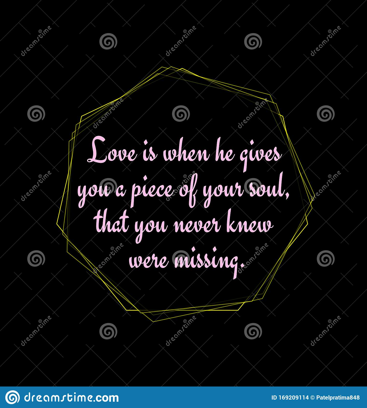 love quotes written on abstract black background yellow geometric