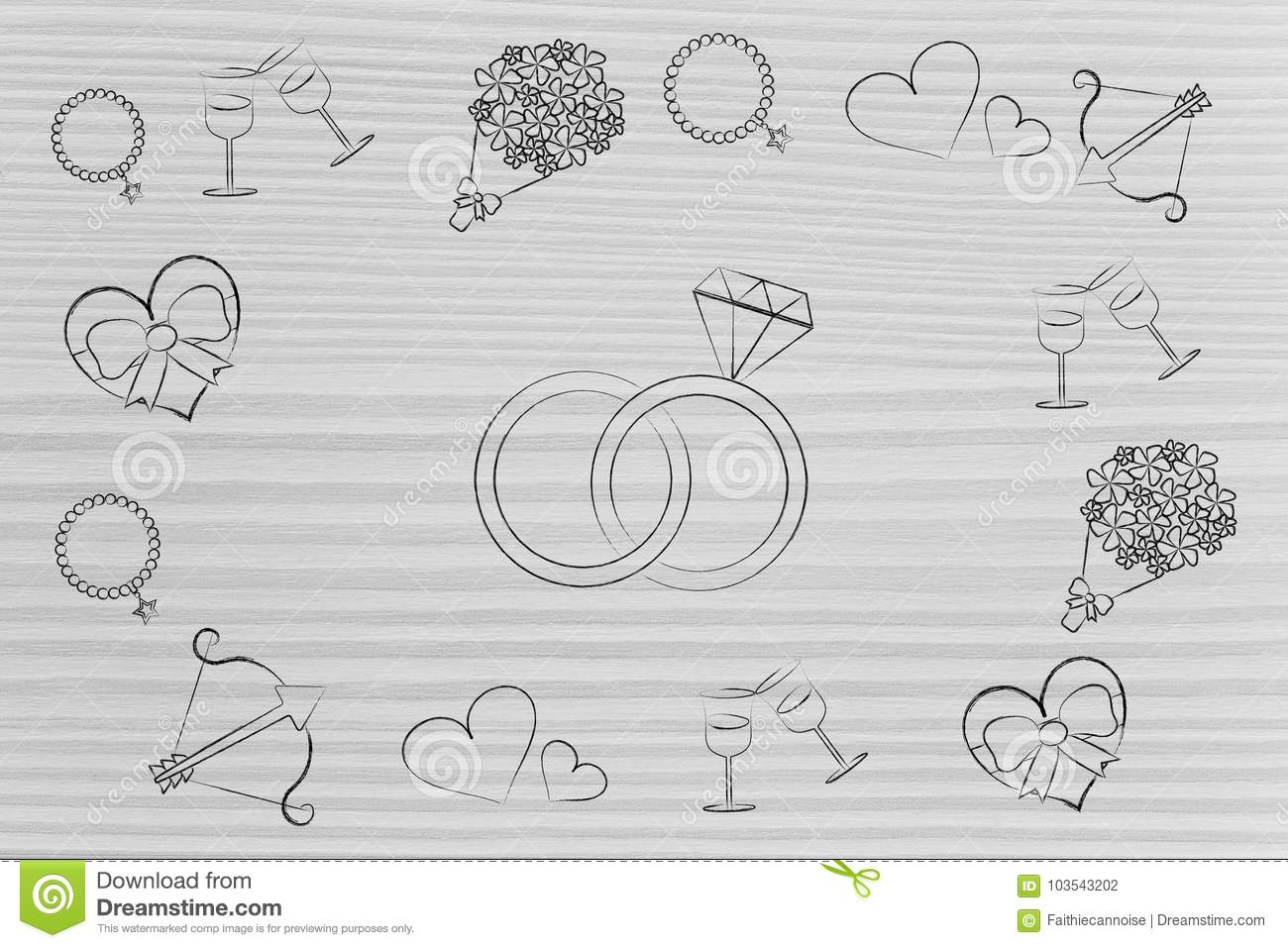 Wedding Rings Surrounded By Romance And Love Themed Symbols Stock