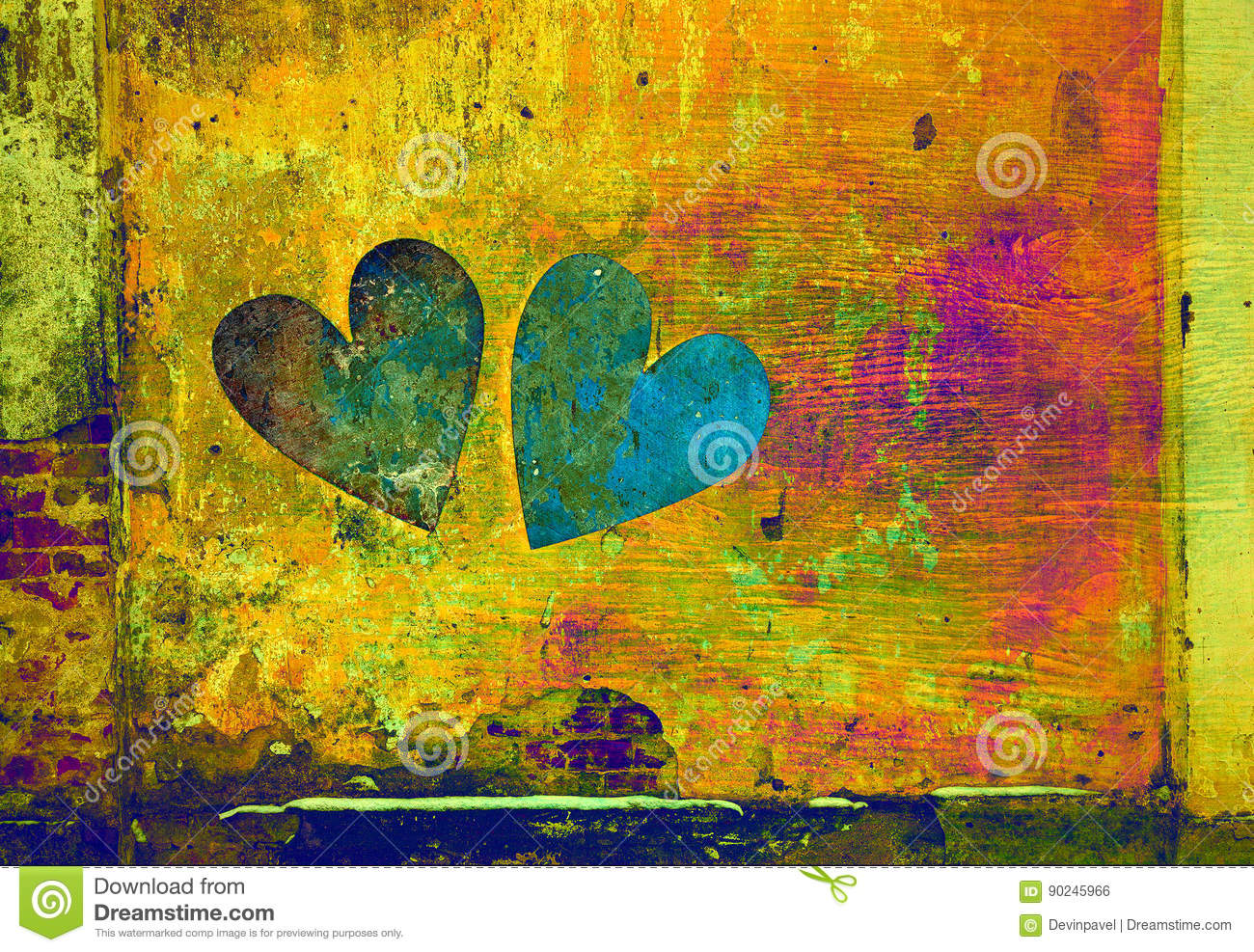 Love and romance. two hearts in grunge style on abstract background