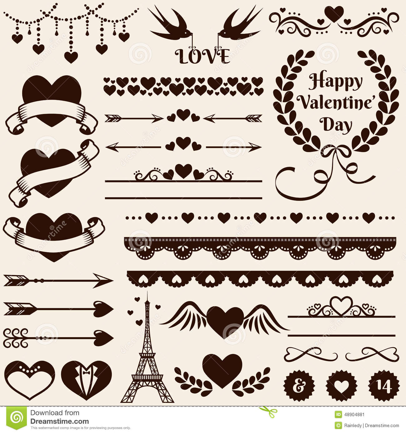 Love Romance And Wedding Design Elements Vector Set