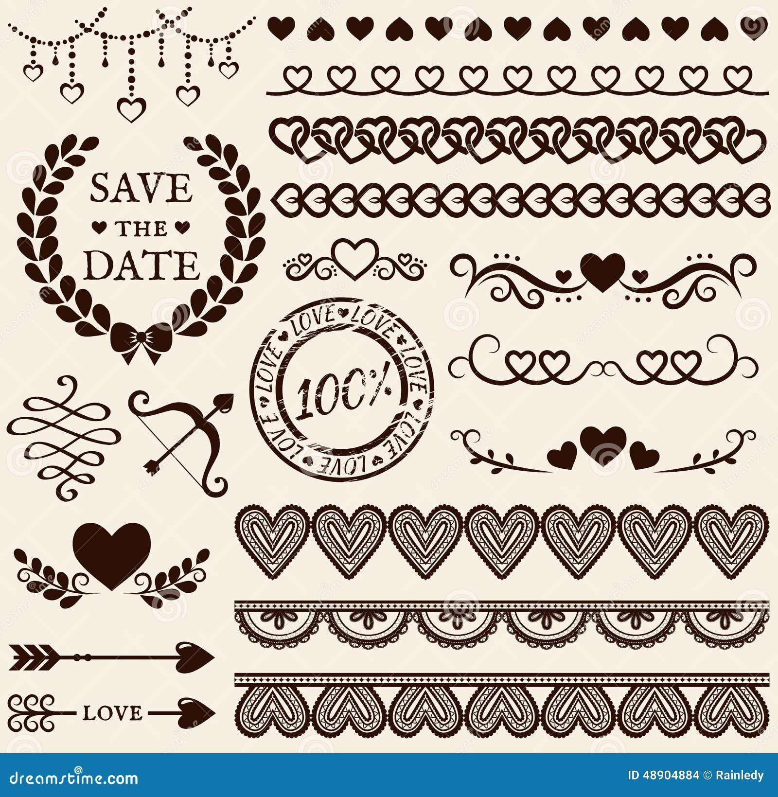 Love romance and wedding design elements vector set stock vector download comp junglespirit Gallery