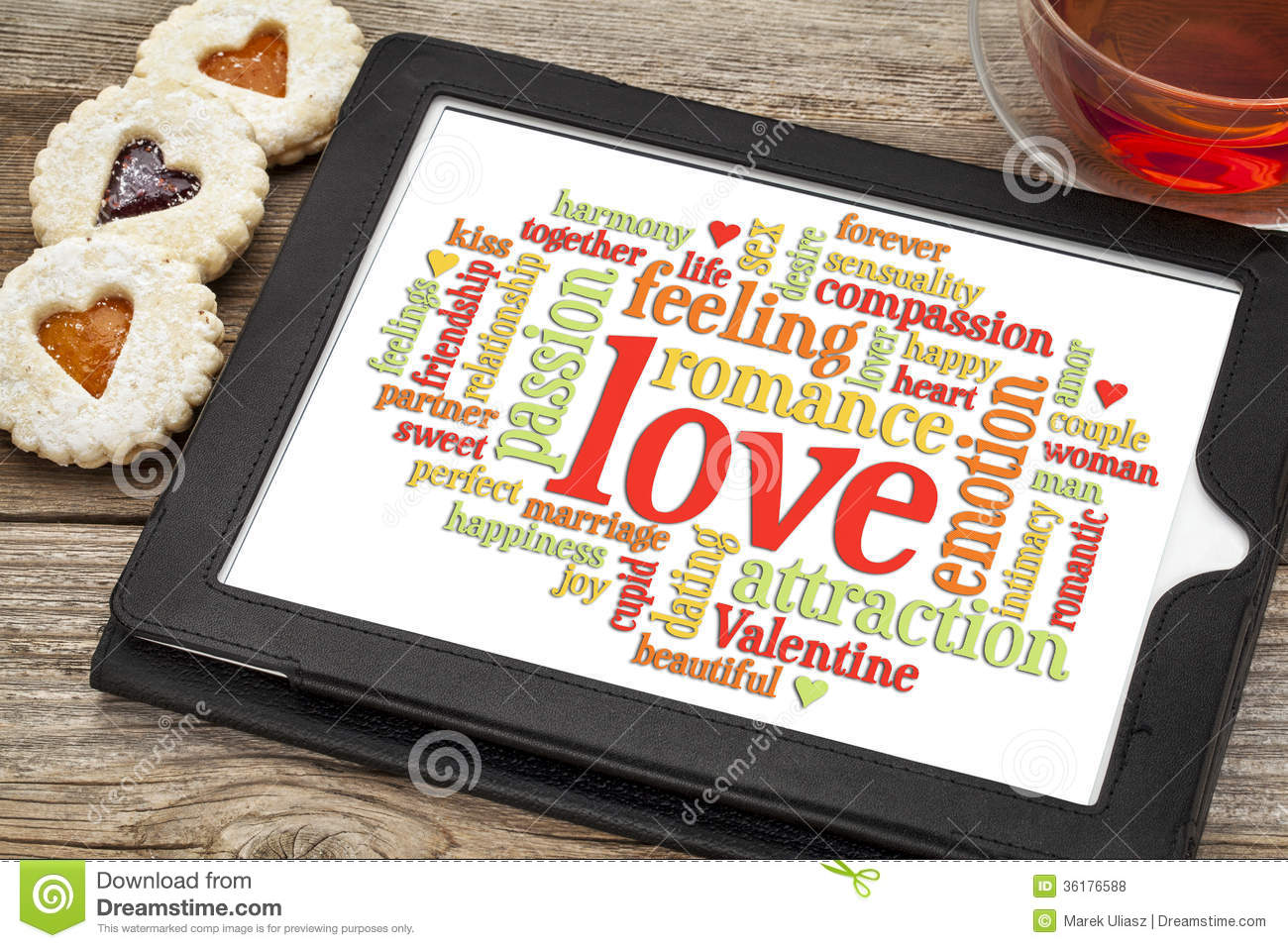 love and romance word cloud stock photo image of touchscreen