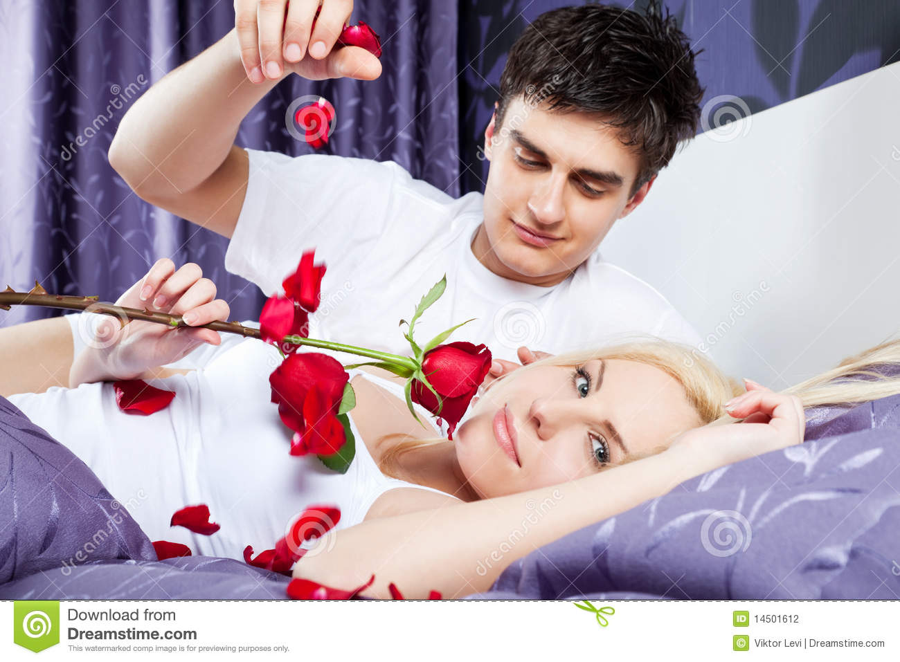 love romantic couple bed stock photography image 14501612