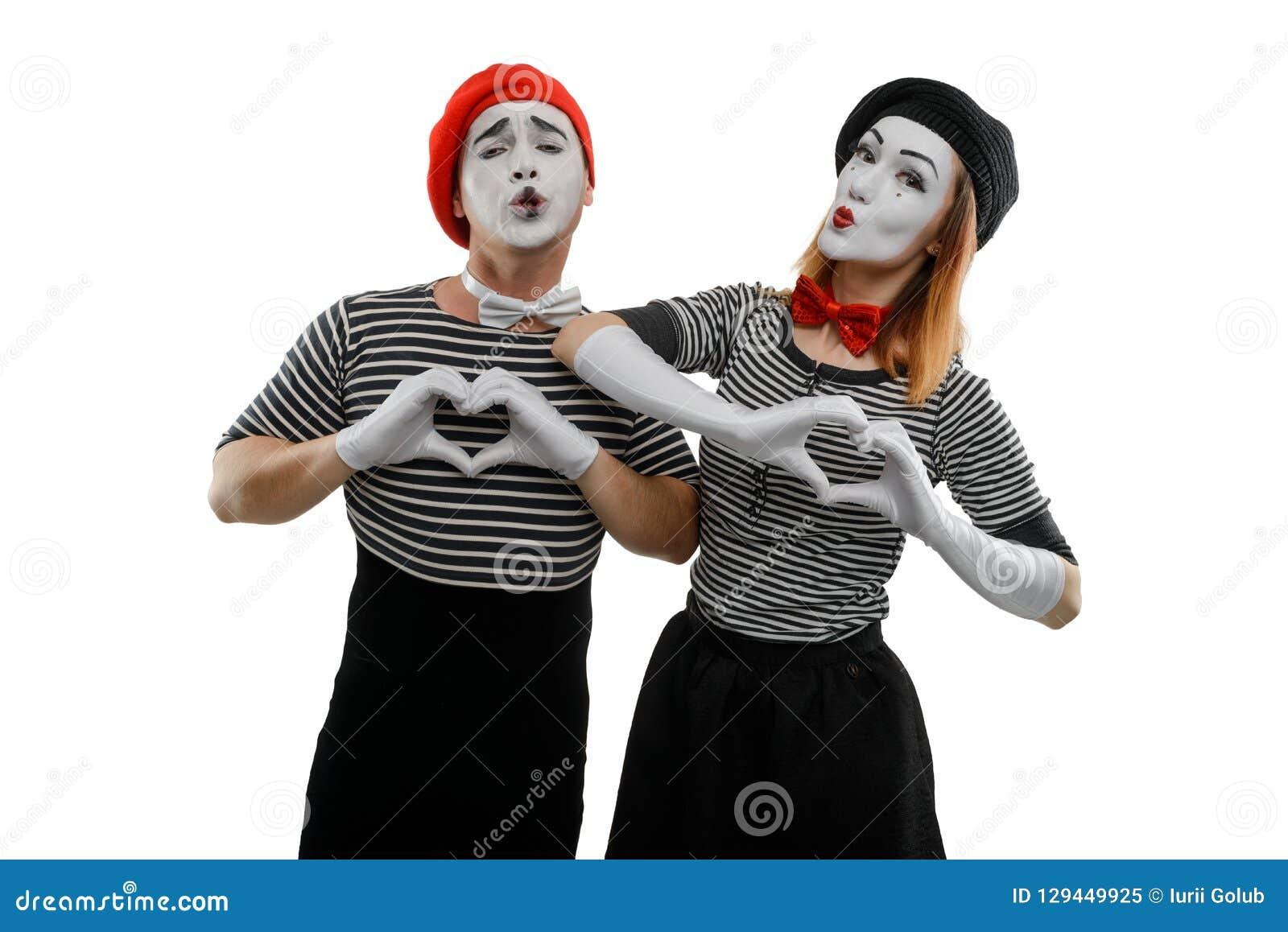 Love Scene Of Pantomime Actors Stock Image - Image of look