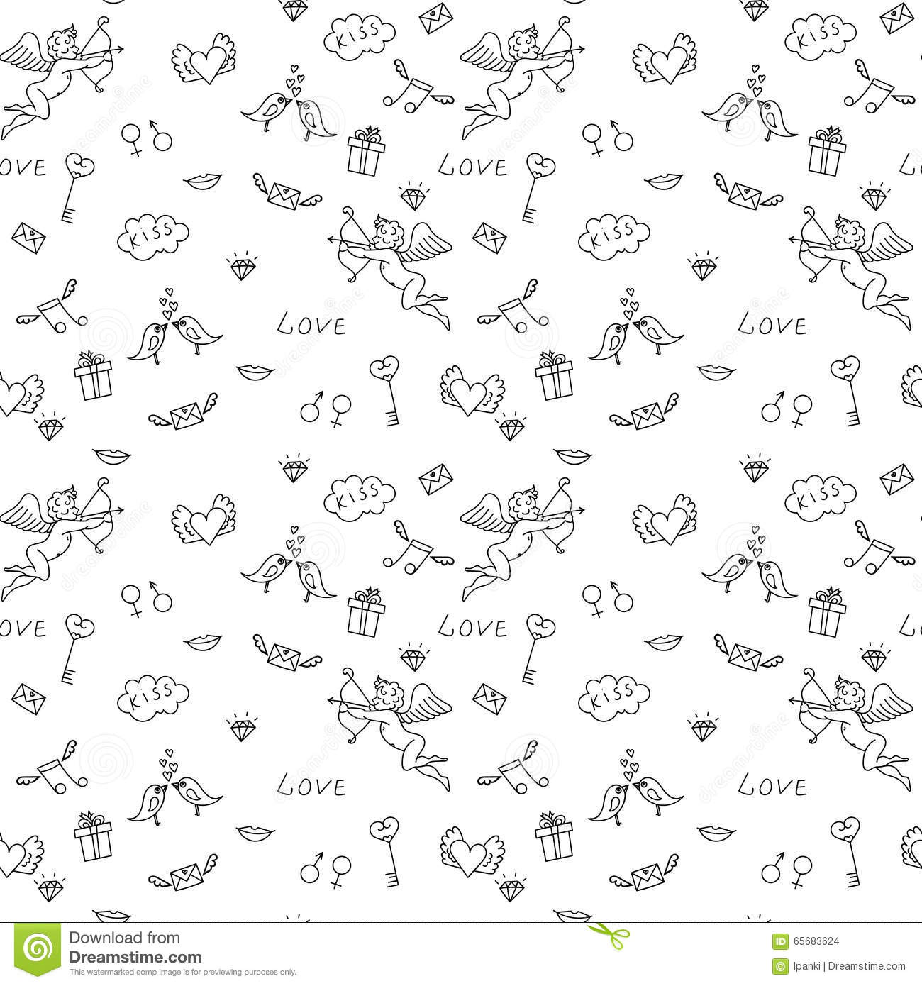 love seamless pattern for st valentine s day for adult coloring