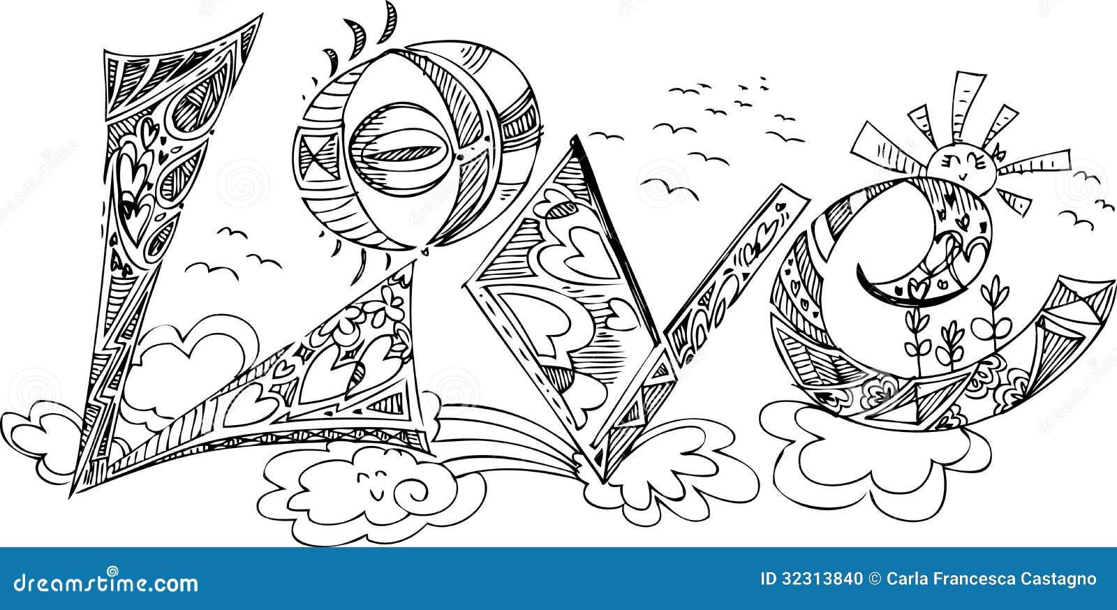 Frida Kahlo Kawaii Para Colorear: LOVE Sketchy Doodles Stock Photo