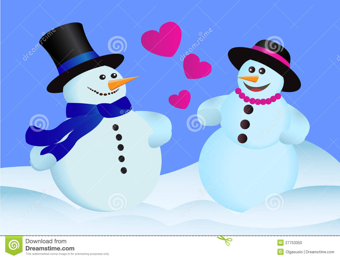 Two Lovers Snowman Stock Illustration - Image: 62398504