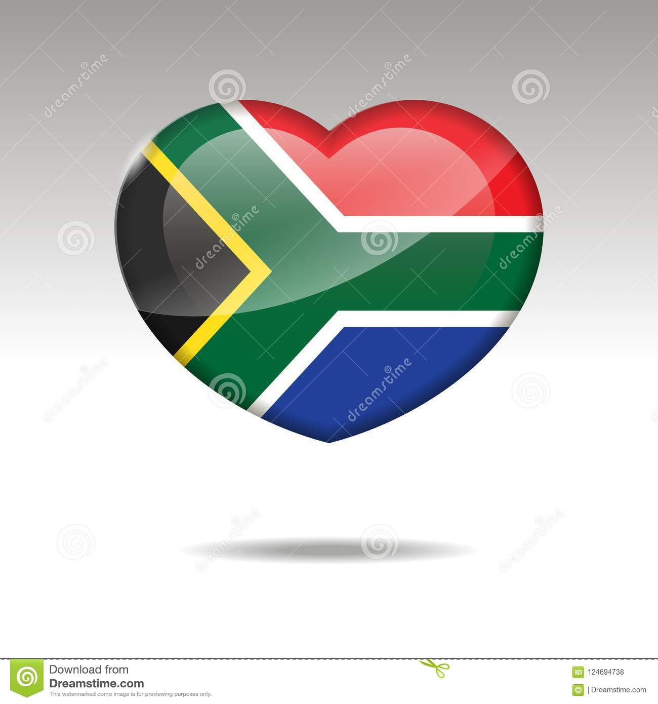 Love South Africa Symbol Heart Flag Icon Stock Vector