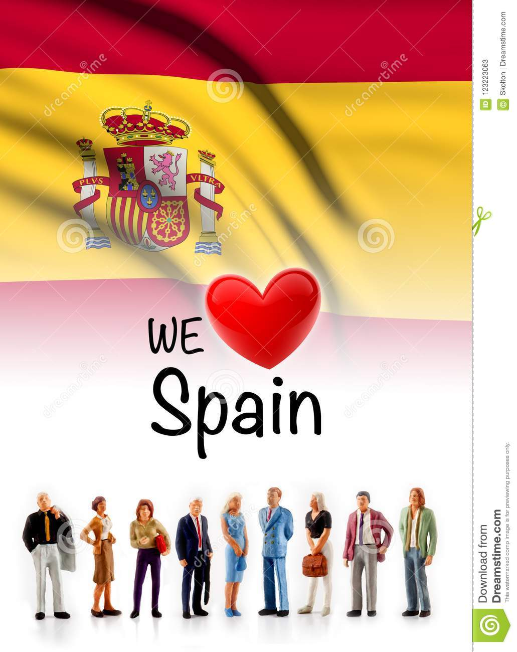 We love Spain, A group of people pose next to the Spanish flag