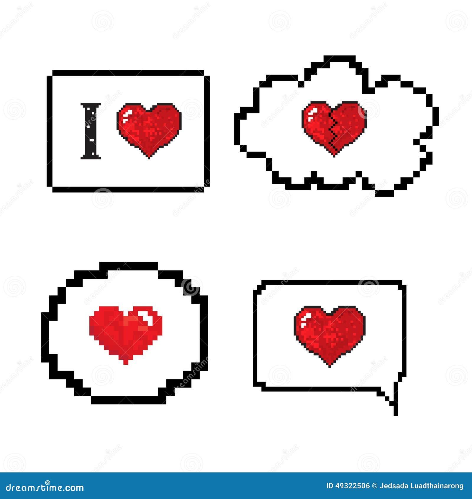 Love Speech Bubble Pixels Art Stlye Stock Vector