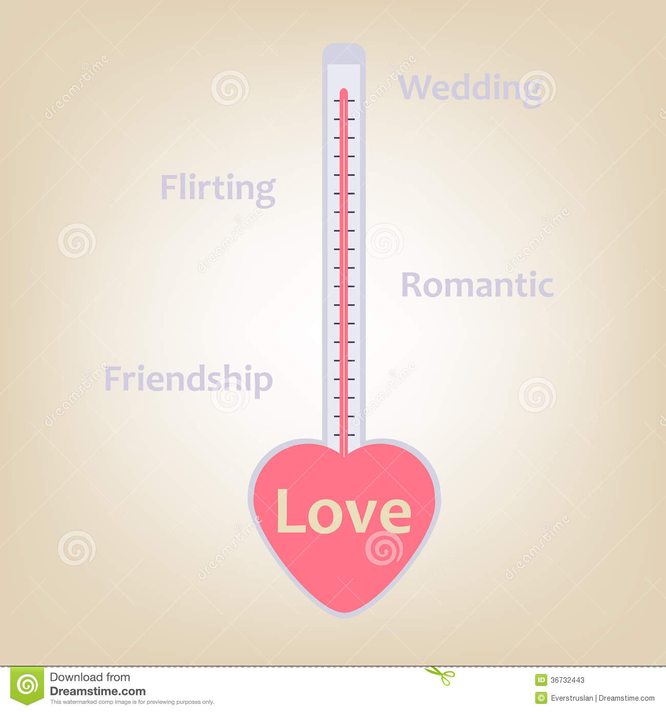 Love Stages And Levels In Termometer Measure Conc Stock Vector