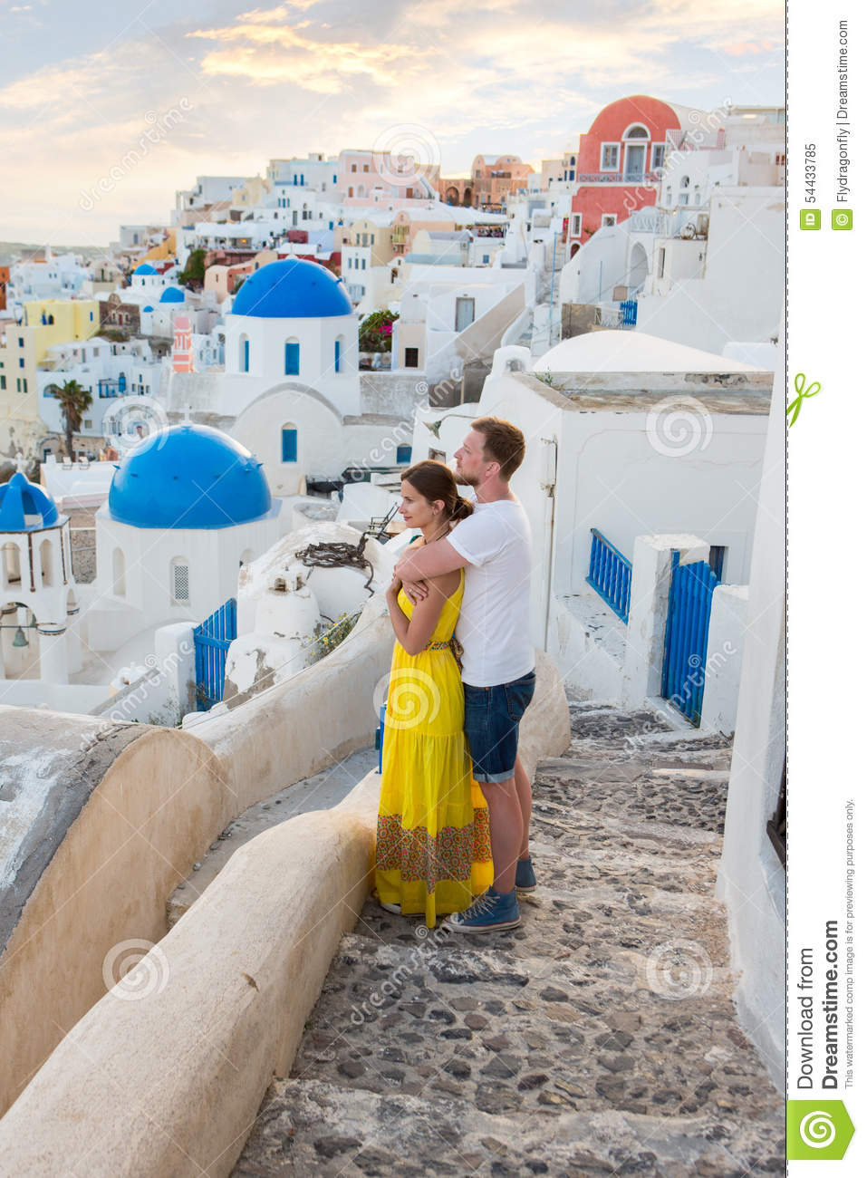 Love story santorini stock photo image 54433785 for Best vacations in december for couples