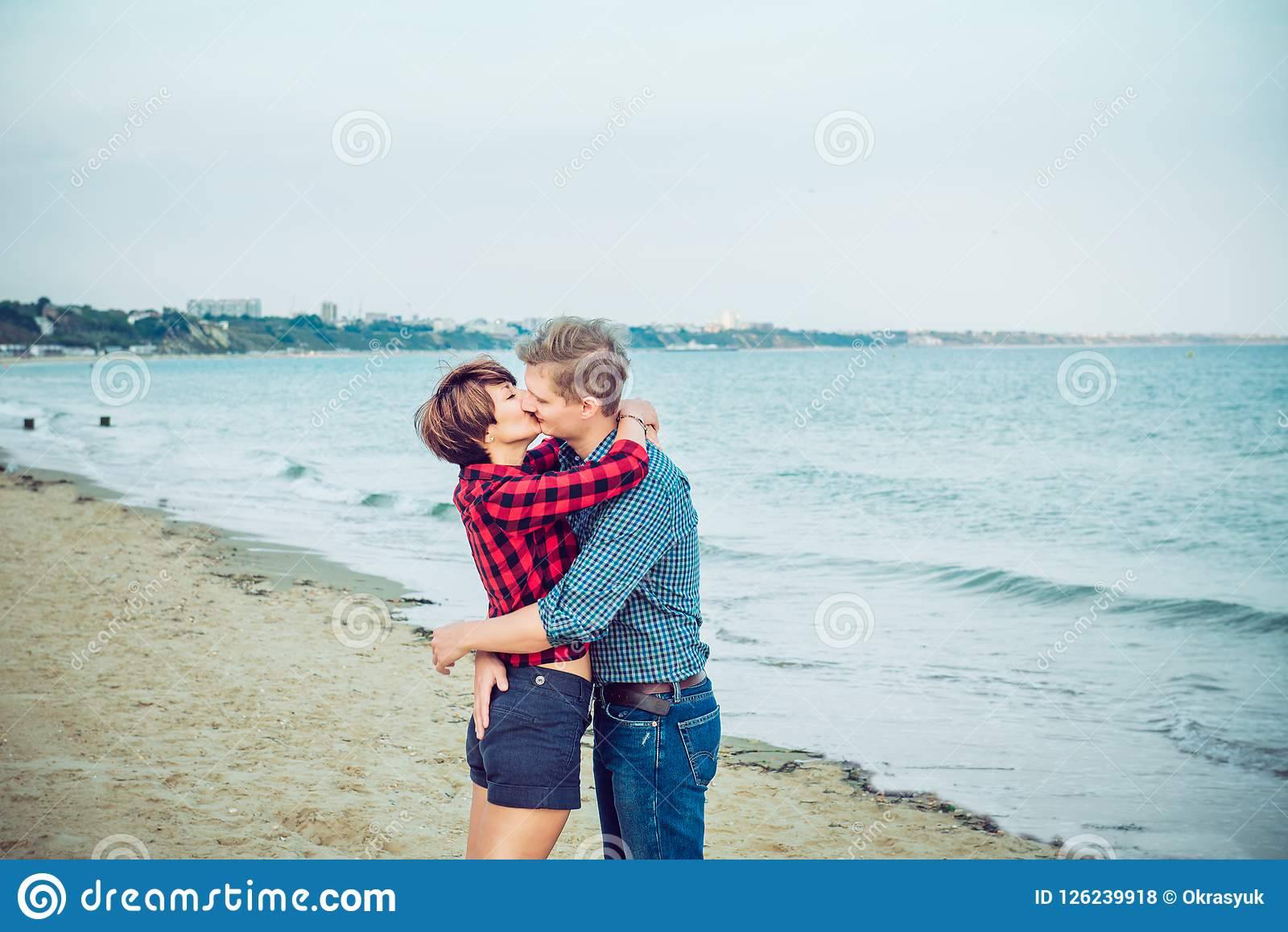 Love Story On The Sea Honeymoon Kiss Couple In Love Having Happy Romantic Tender Moments On The Beach Boyfriend And Girlfriend Stock Photo Image Of Happiness Girl 126239918