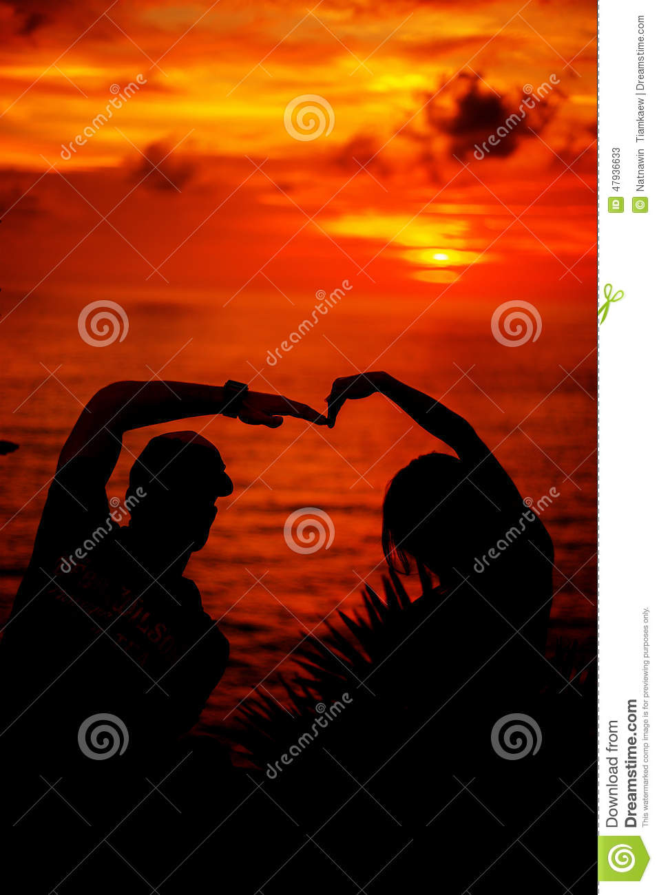 Love story on sunset