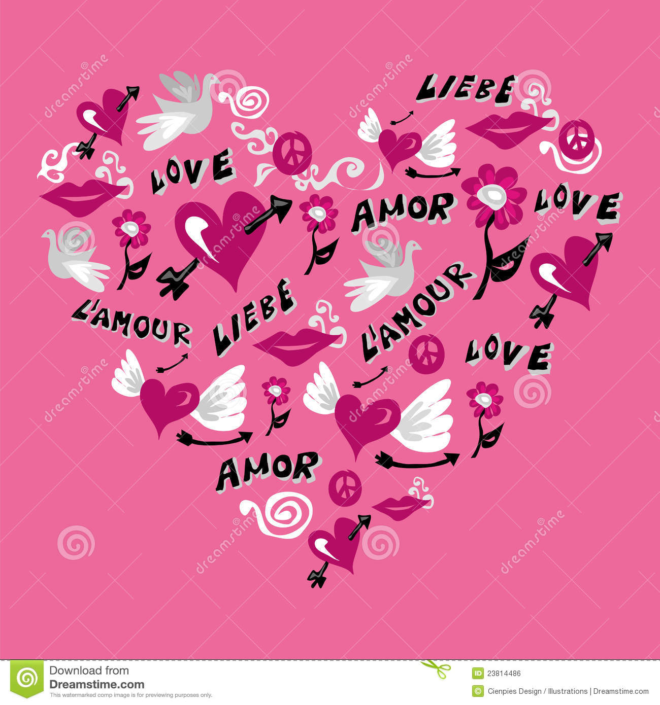 Love symbols in heart shape stock vector illustration of love symbols in heart shape buycottarizona Image collections