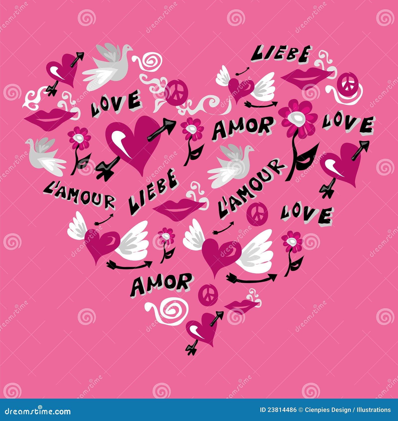 Love symbols in heart shape stock vector illustration of love symbols in heart shape buycottarizona Gallery