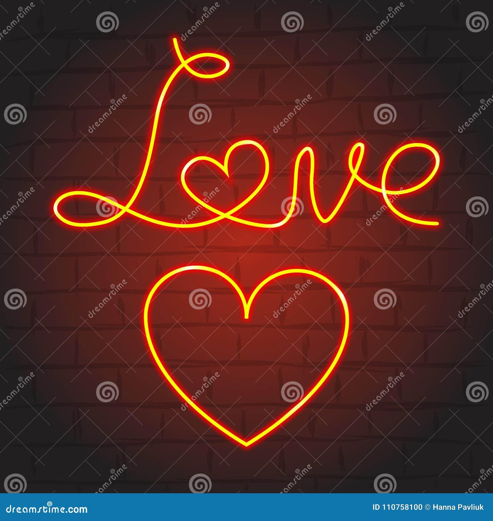Love Symbols In Neon Glow On Dark Background Stock Vector