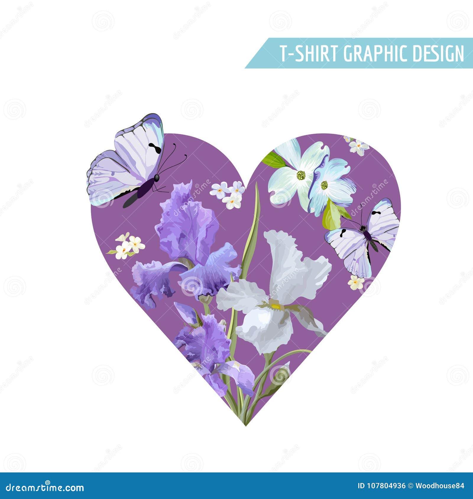 Love T Shirt Design With Flowers Butterflies Stock Vector