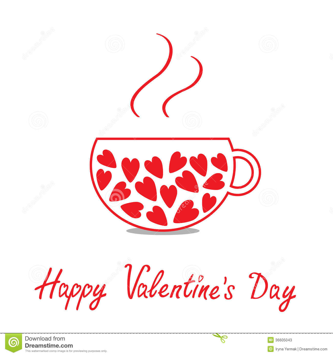 Love Teacup With Hearts Happy Valentines Day Card Illustration