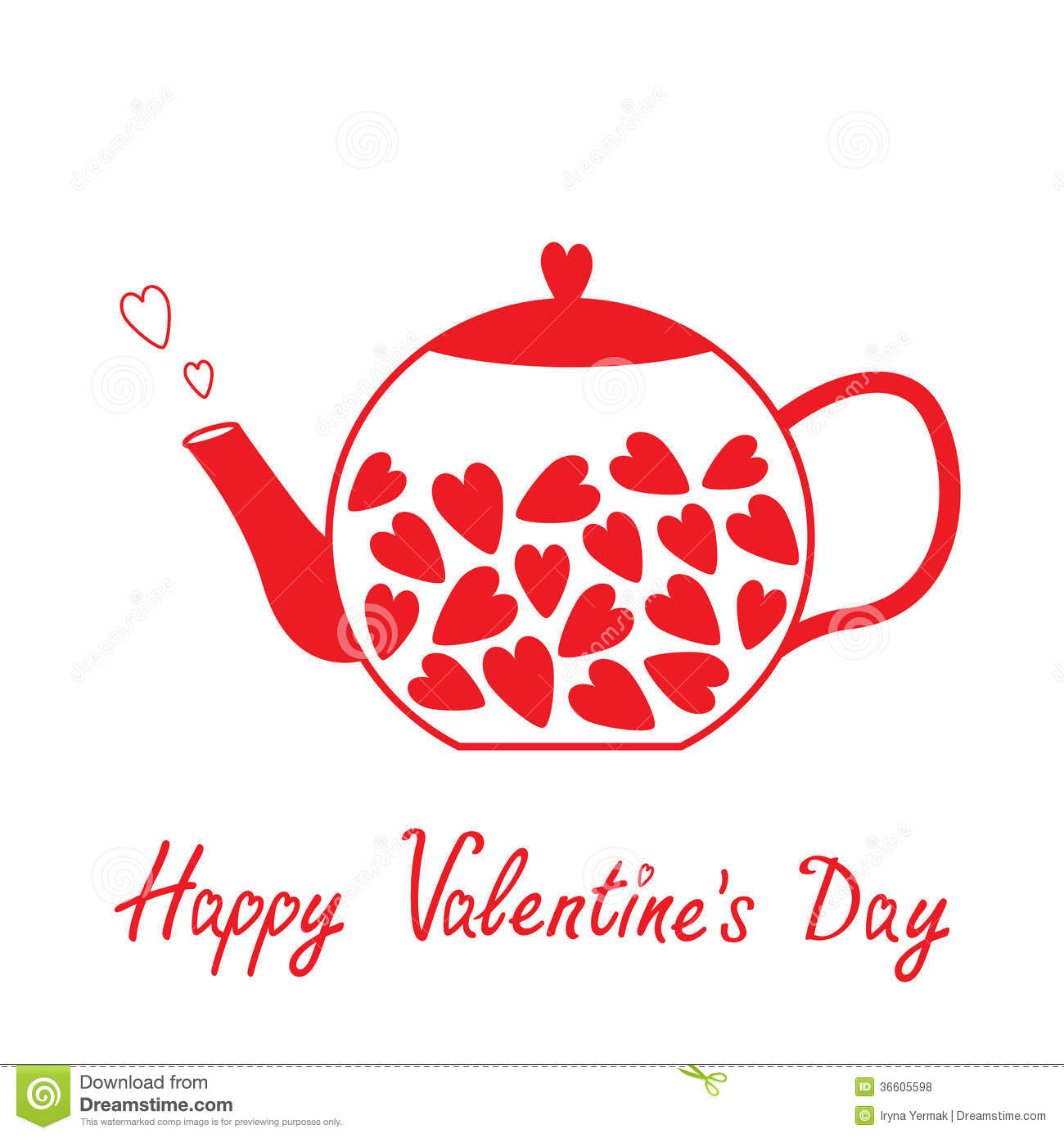 Valentines Day Card E Cards   Love Teapot With Hearts Happy Valentines Day  Card Royalty