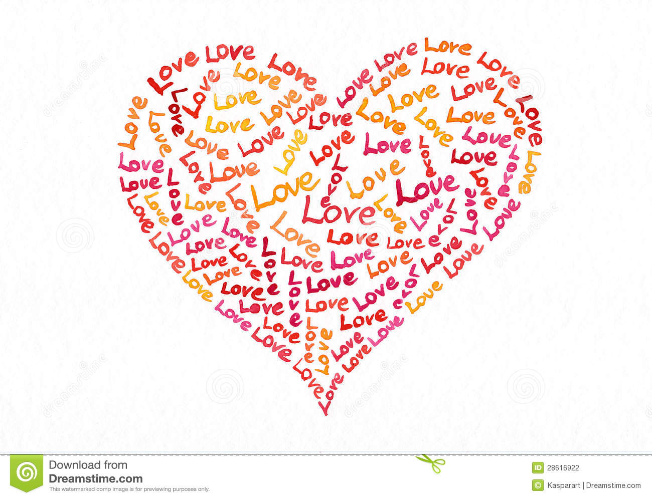Love Text Heart Watercolor Painting Stock Illustration