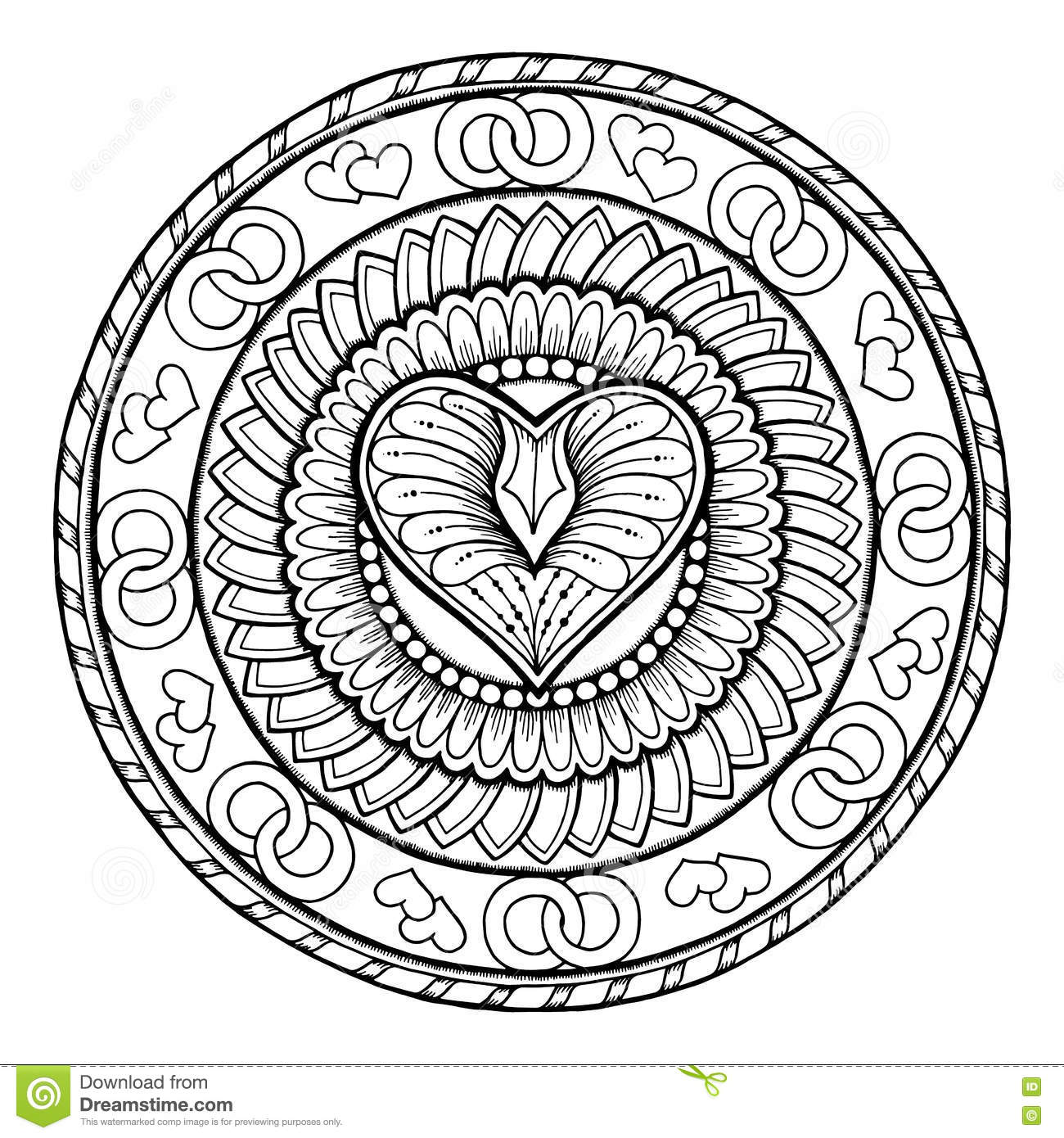 Love theme circle tribal doodle ornament with heart hand for Zentangle per bambini