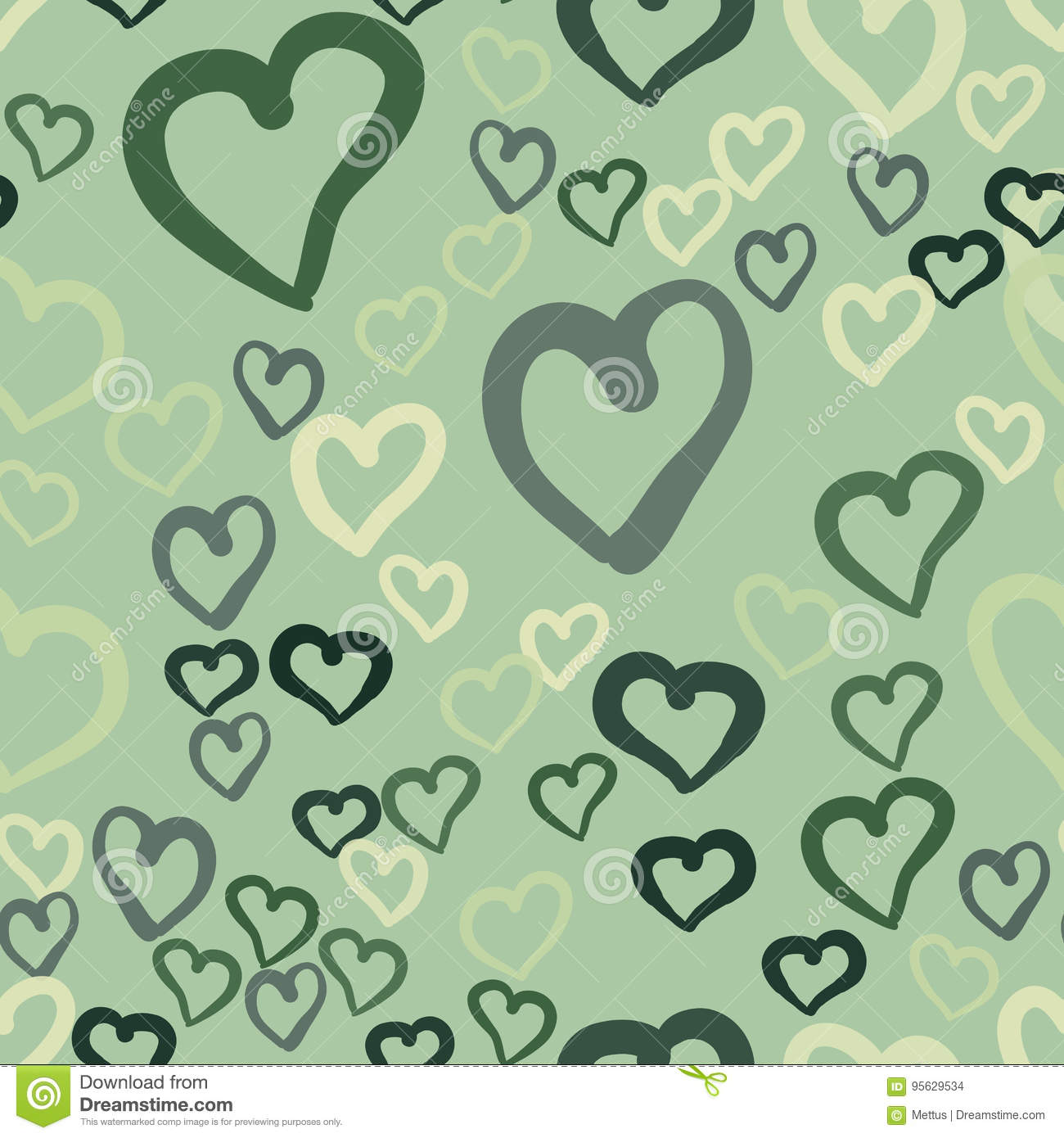 Love Theme Design, Hearts Valentine`s Day Seamless Pattern Wallpaper