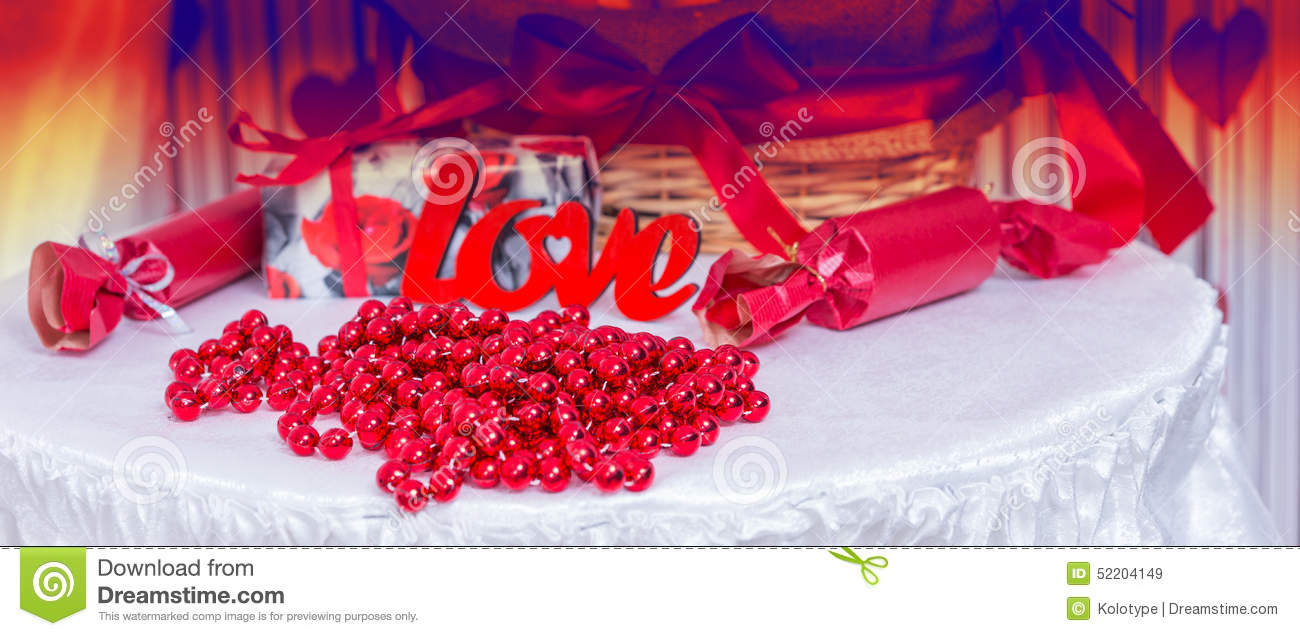 Love Themed Table For Wedding Or Valentines Day Stock Image Image