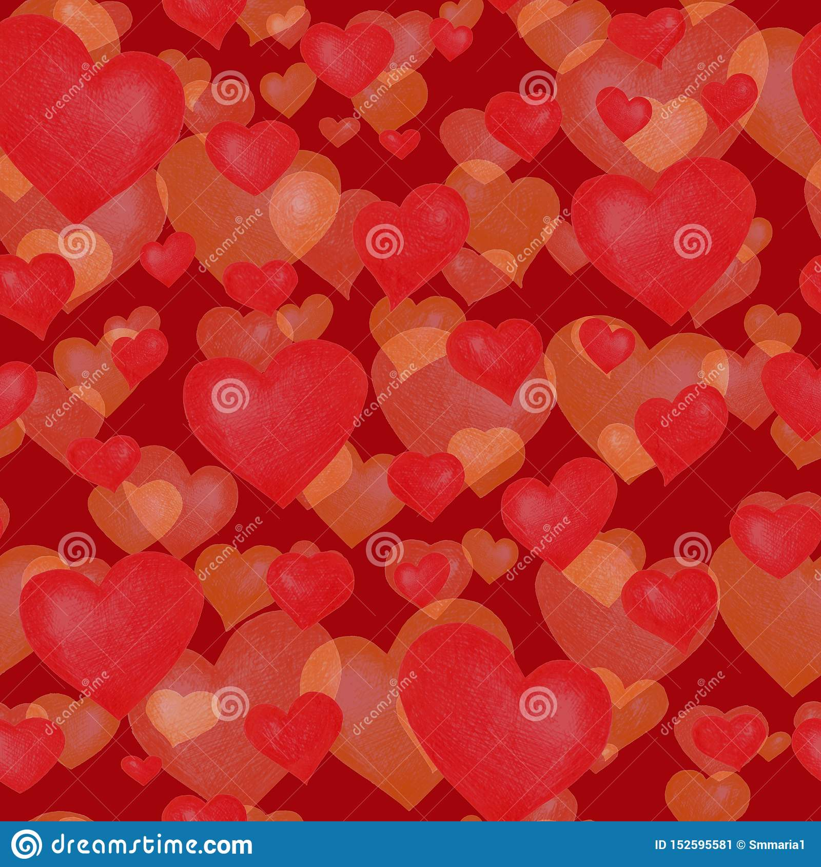Love themes seamless texture. Red seamless pattern with red hearts isolated on white.