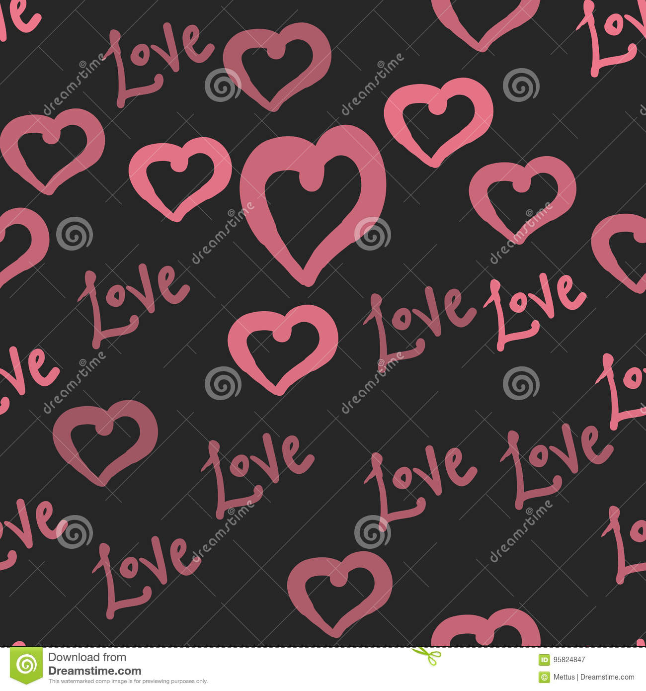 Love Tile In Pink Hearts Valentine`s Day Seamless Pattern