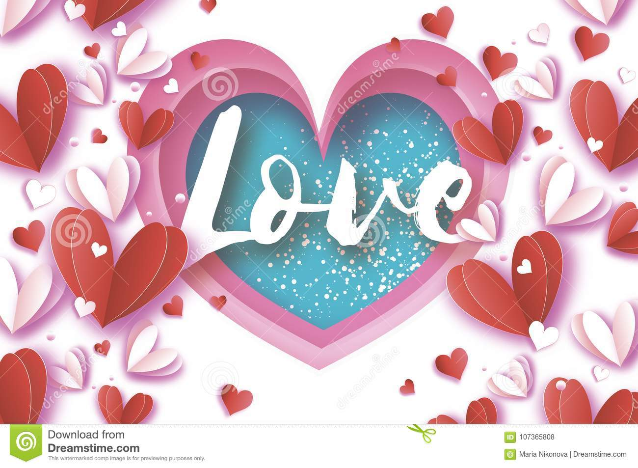 Love Title. Origami Happy Valentine`s Day Greetings Card. Flying ...