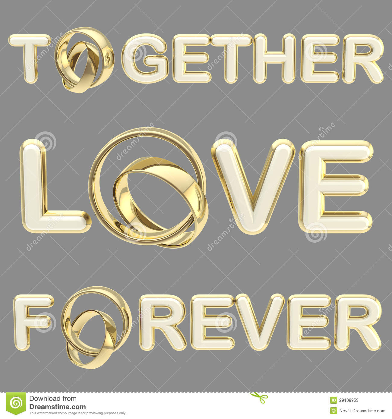 Love Together Forever Words Isolated On Grey Stock Photos Image 29108953