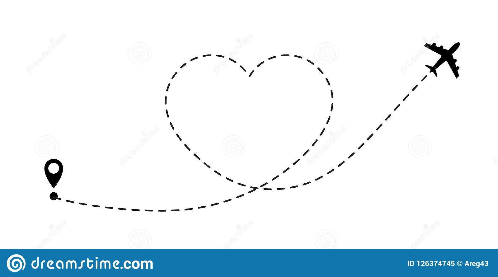 Love travel route. Airplane line path vector icon of air plane flight route travel