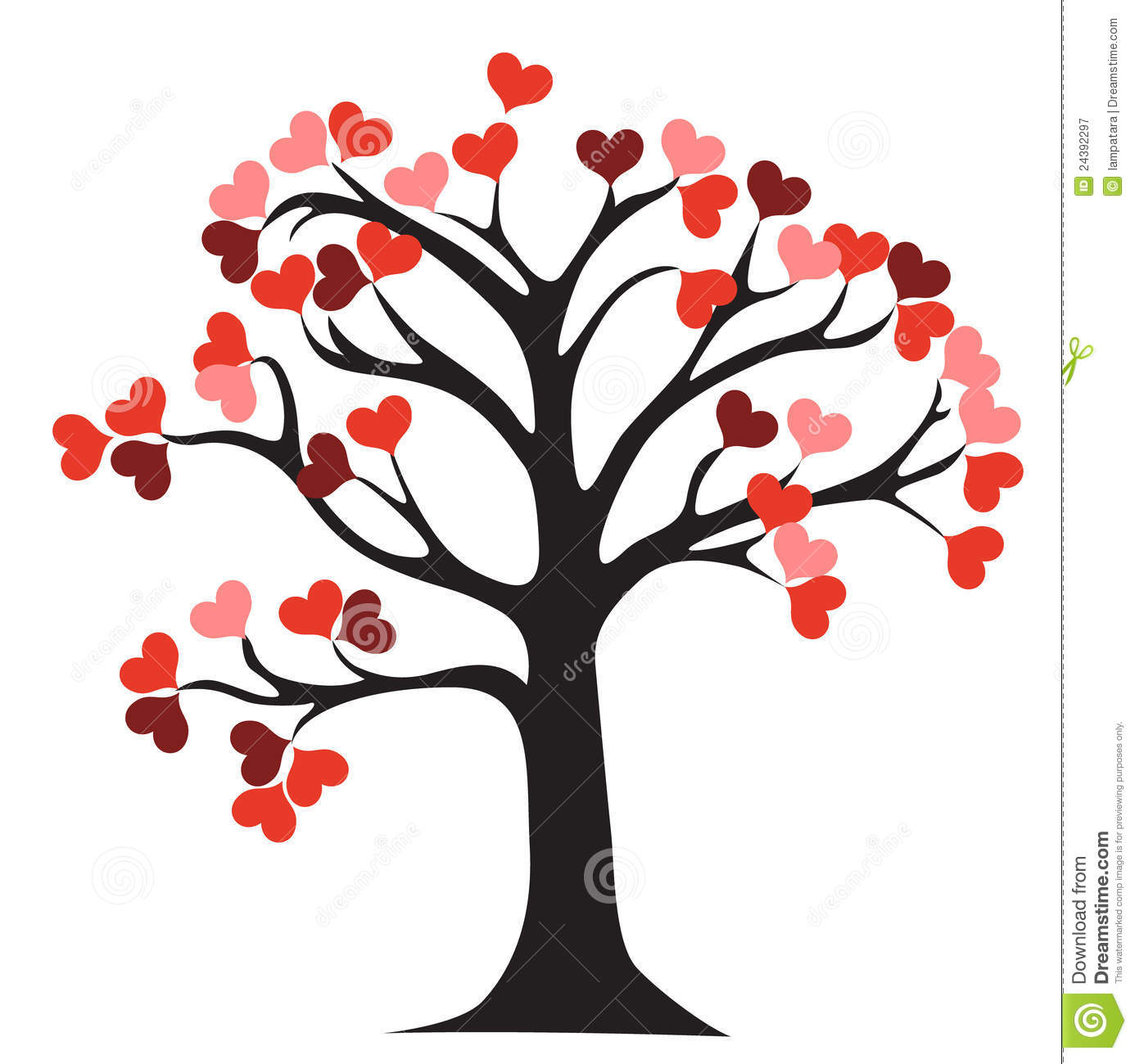 Love tree stock vector image of heart bush life - Clipart amour ...