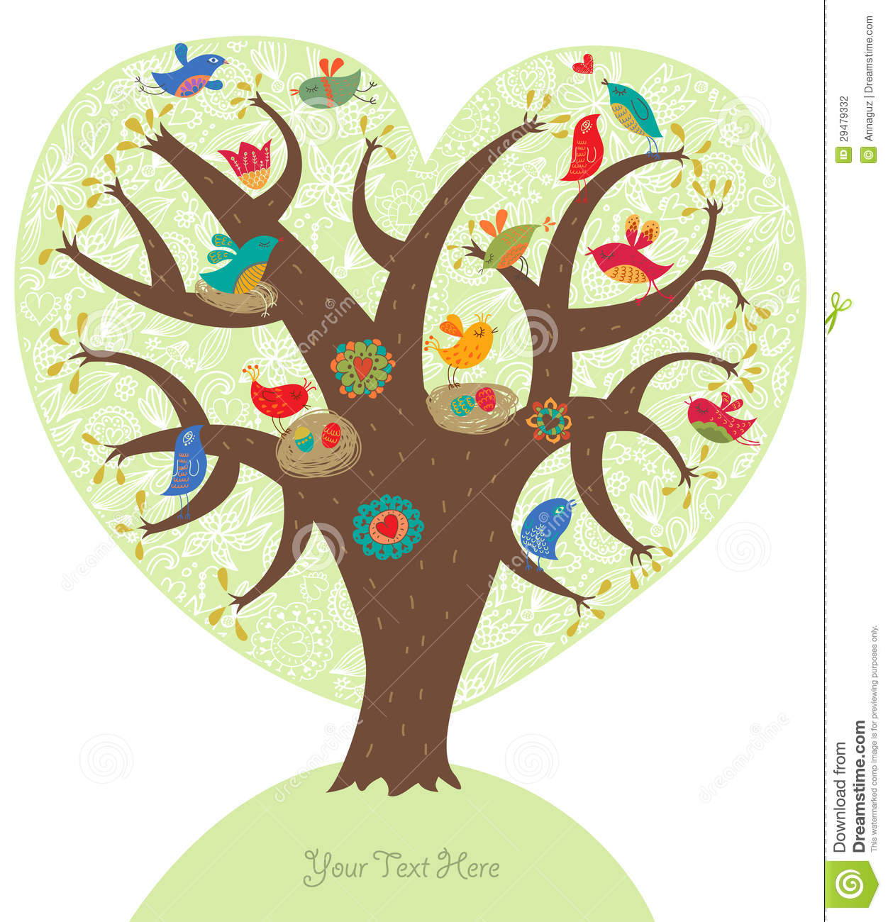 Short Sweet I Love You Quotes: Love Tree With Cute Birds Stock Photography