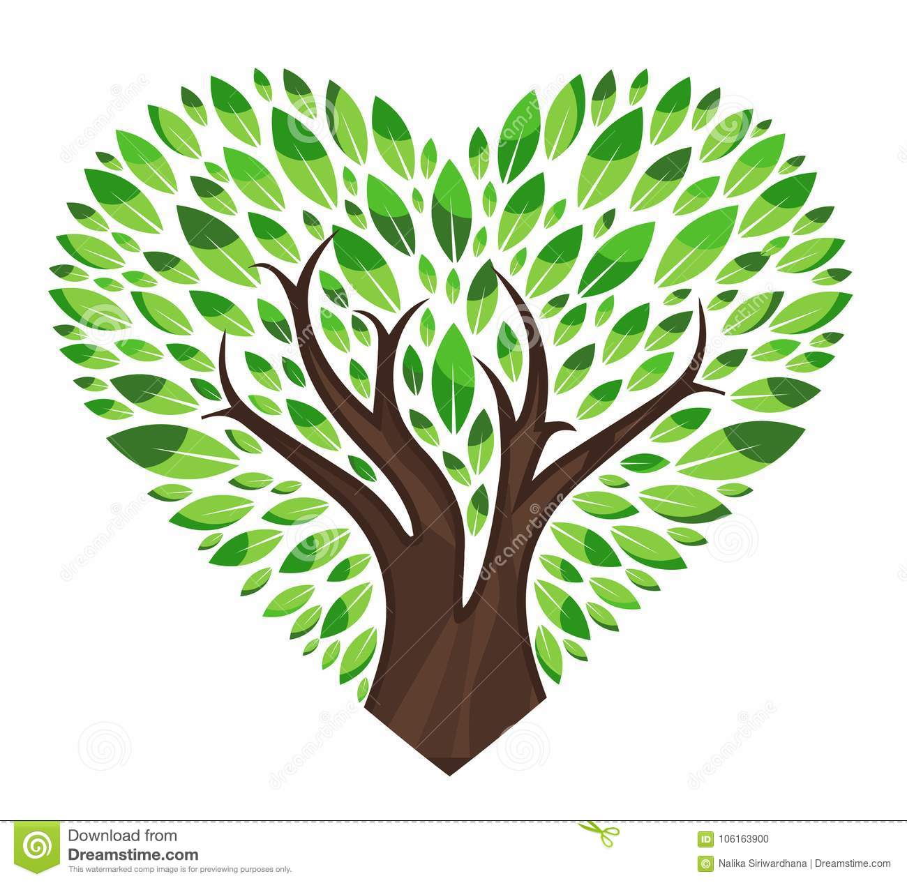 Love tree with leaves