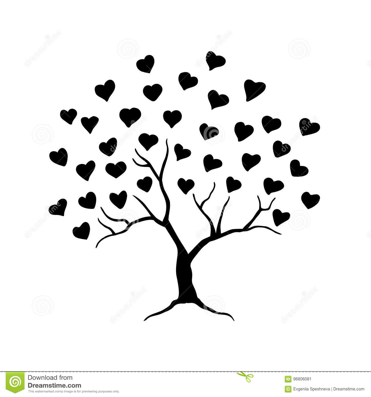 love tree with leaves from hearts abstract tree for wedding or