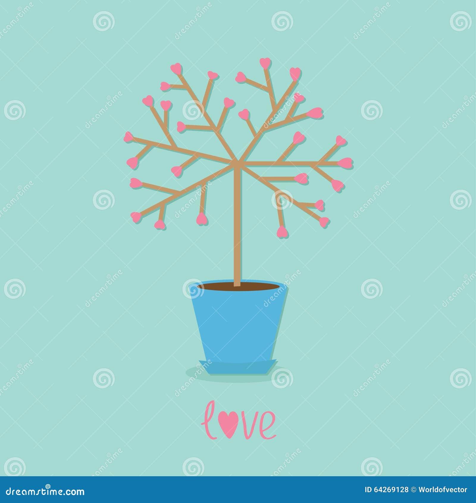 love tree in the pot heart flower word love blue background flat