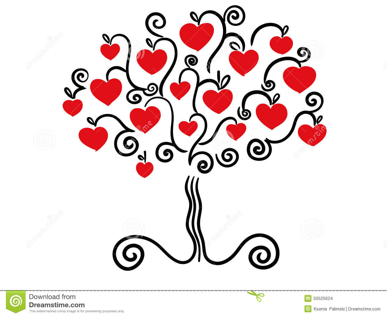 Love tree vector stock vector. Illustration of cartoon ...