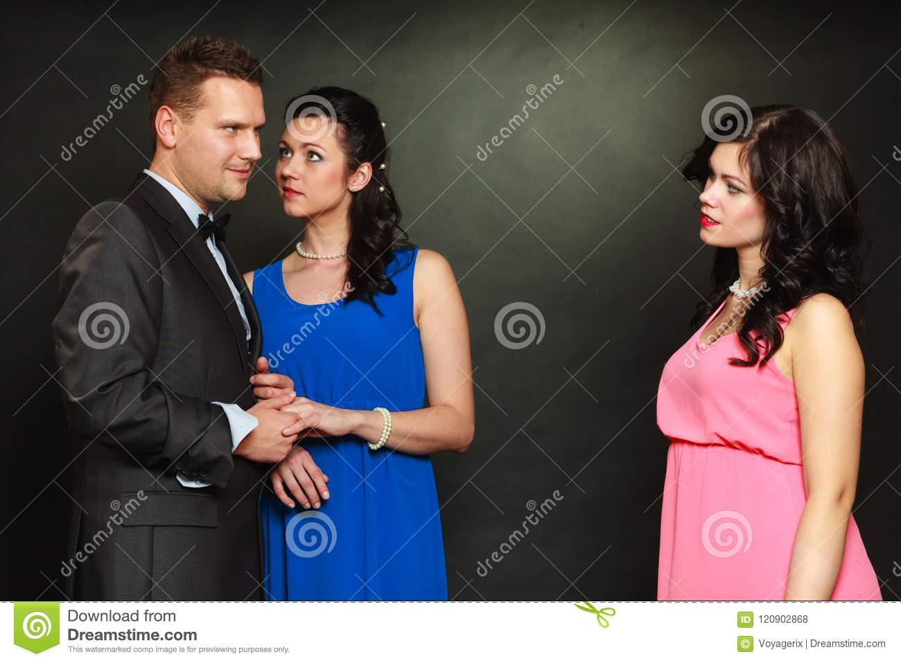 Couple and his jealous woman lover